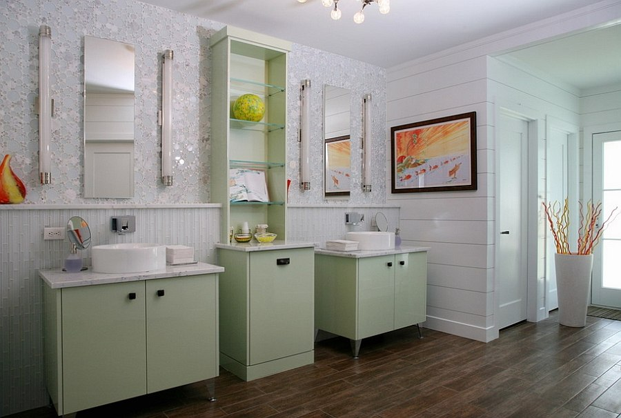 Dazzling-wall-tile-and-light-green-steal-the-show-in-this-relaxing-master-bathroom