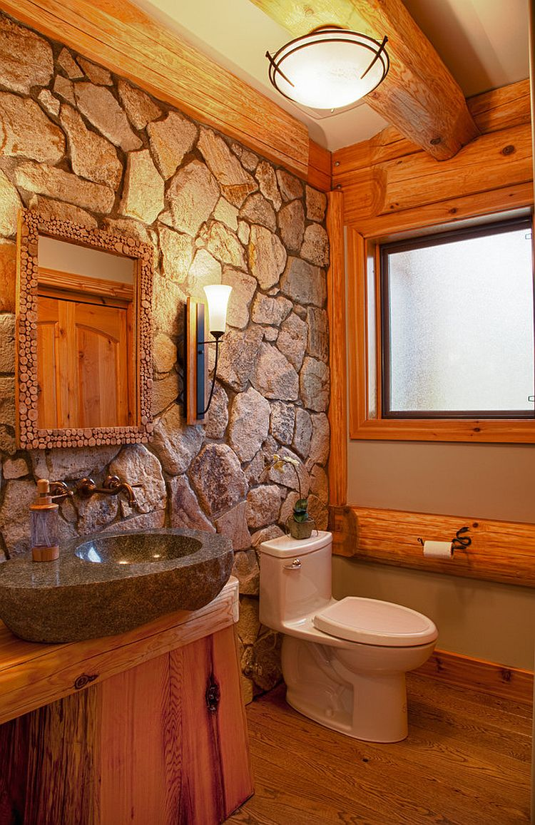 Natural-stone-wall-for-the-cabin-style-rustic-bathroom