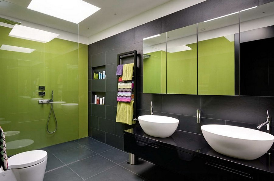 Classy-contemporary-bath-in-black-and-lime-green