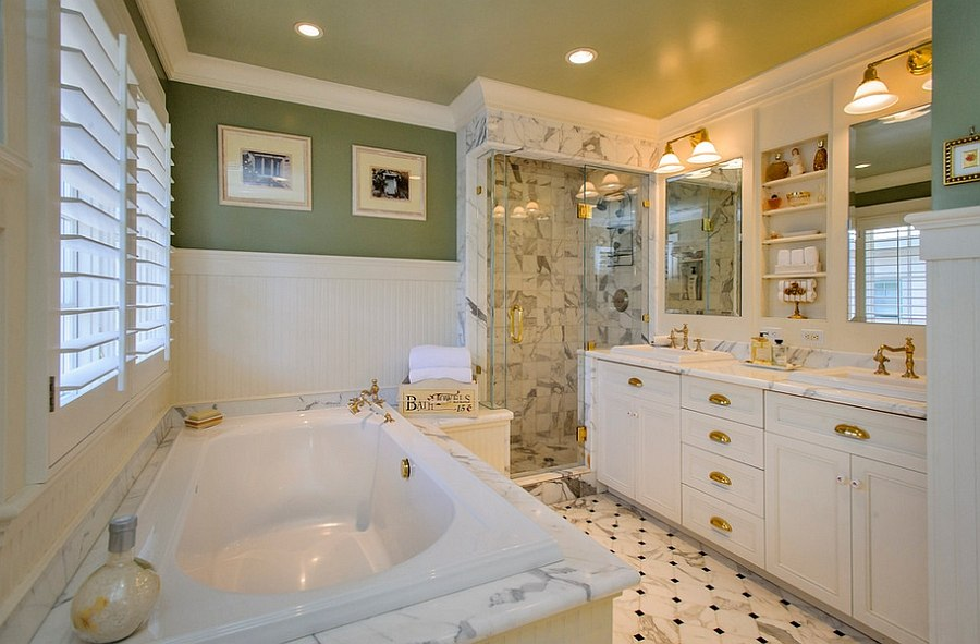 A-hint-of-gold-for-the-beautiful-traditional-bath-in-green-and-white