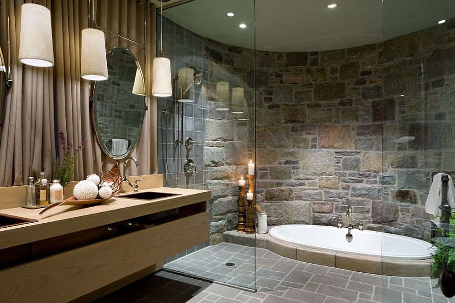 Opulent-bathroom-with-a-sunken-Jacuzzi-and-a-curved-stone-wall