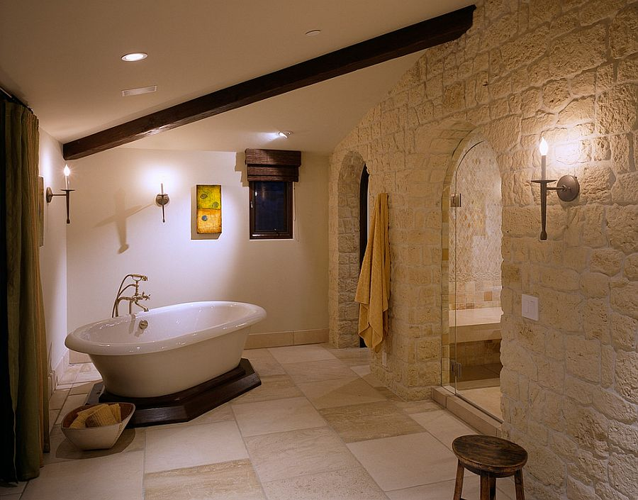 Color-and-texture-of-the-stone-give-the-bathroom-a-Mediterranean-vibe