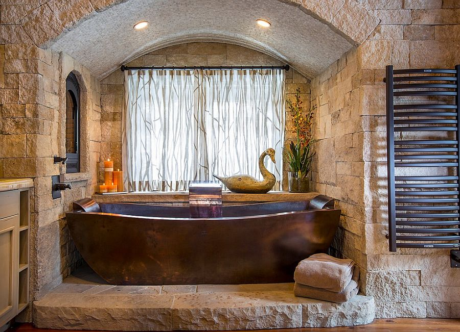 Custom-copper-bathtub-and-stone-backdrop-steal-the-show-here