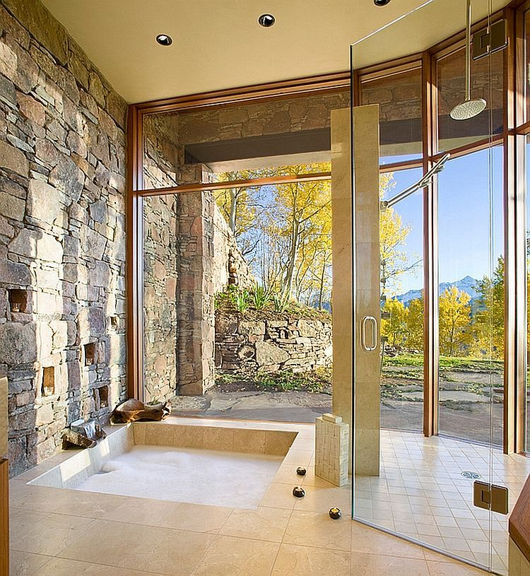 Gorgeous-bathroom-with-natural-stone-wall-and-sunken-tub