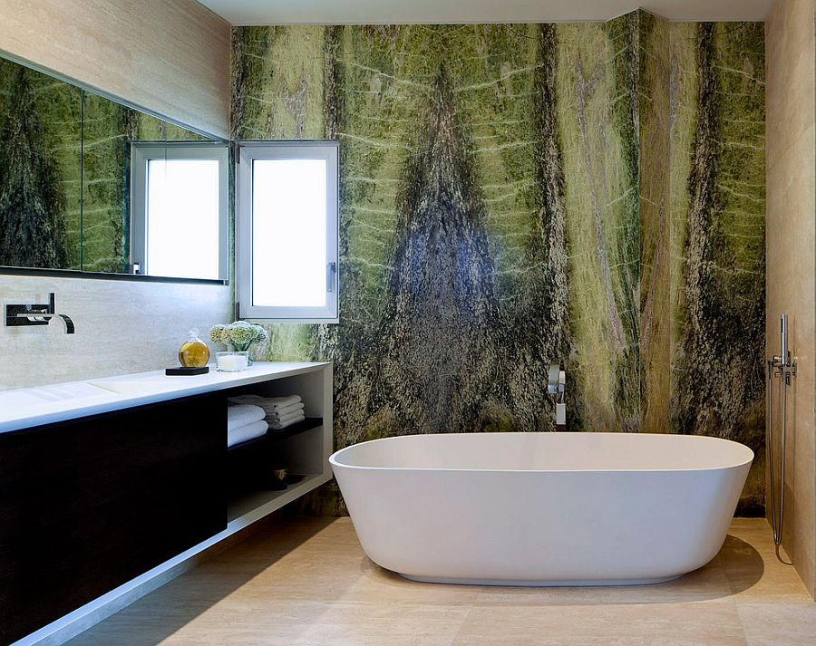 Irish-green-marble-creates-a-vivacious-accent-wall-in-the-contemporary-bathroom